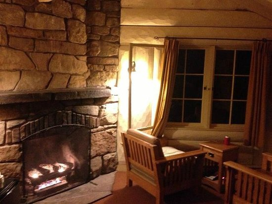 Inside the Rim Cabin with fireplace Picture of Bright Angel