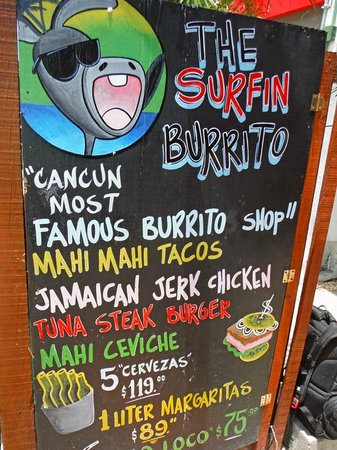 The Surfin Burrito : Menu- this is what you see on the sidewalk headed North