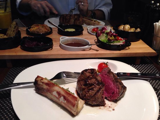 Boff: Medium rare filet. All steaks are served with bone marrow and a salad and sauce. I got red wine
