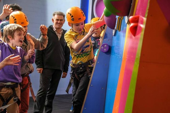Having fun at Kendal CrazyClimb.