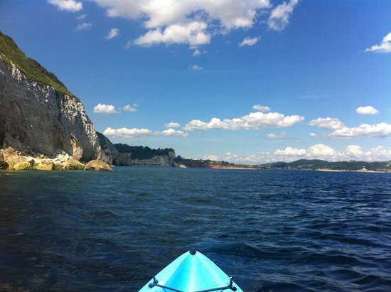 Mariners B&B : Seaton and Beer Cliffs from my Kayak off Beer Head