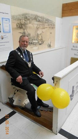 The Royal Victoria Arcade: Mayor Milburn on the stairlift
