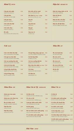 May Restaurant: Menu page 1