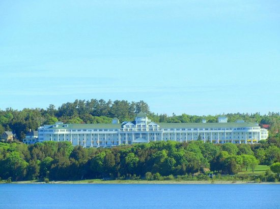 Mackinaw Beach and Bay - Inn & Suites: telephoto of Grand Hotel across the bay