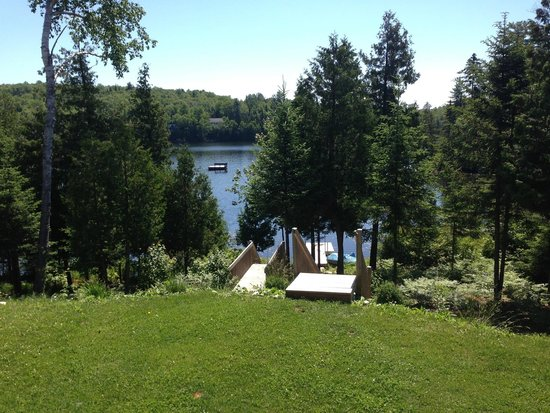 Les Chalets du Lac Grenier : View to lake and swimming dock