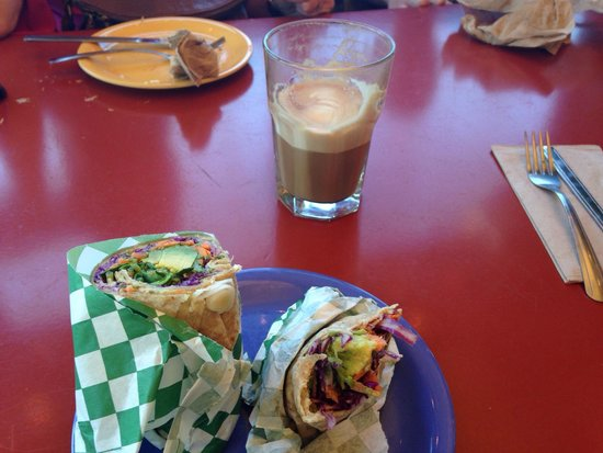 Gayle's Bakery & Rosticceria: Vegan veggie wrap and vegan latte with soy milk. Delicious!!!
