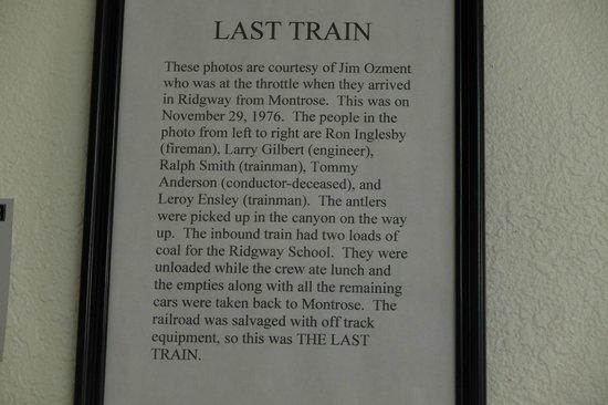 Ridgway Railroad Museum: The last train in Ridgway
