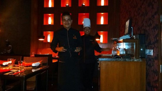 Lemon Tree Premier : Amit, our server and Sujan the chef.