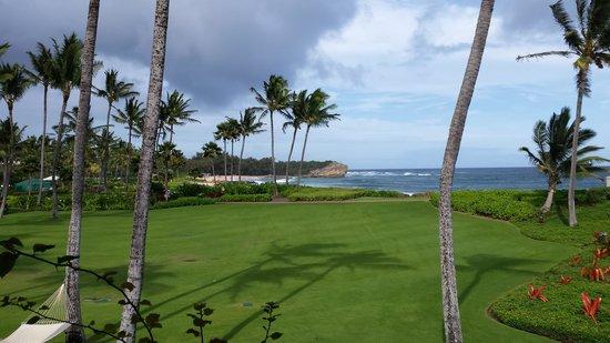 Grand Hyatt Kauai Resort & Spa: View from room (Deluxe King room, oceanview, 2nd floor)