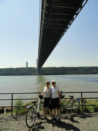 Bike and Roll NYC : Under the George Washington Bridge with our Bike and Roll bikes!