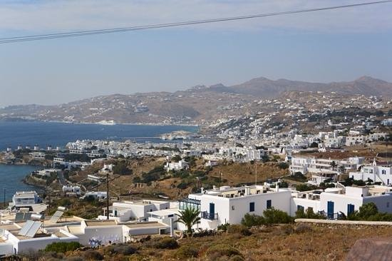Tharroe of Mykonos Hotel: view of town from pool
