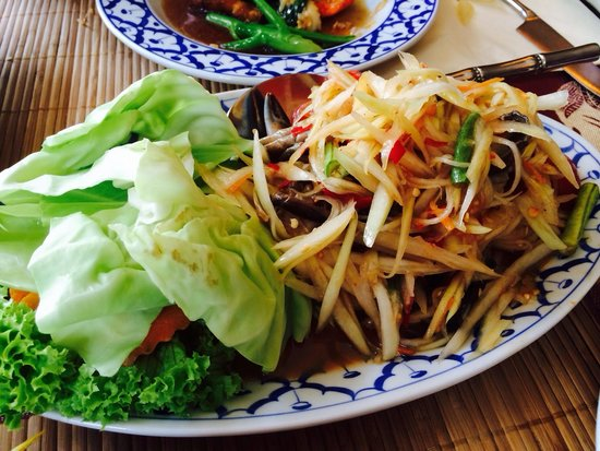 Poonchai Thai Restaurant: Somtum - papaya salad with fermented fish and salted crab. Very tasty and spicy but an acquired