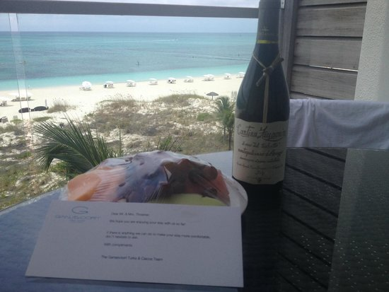 Gansevoort Turks + Caicos: Amazing honeymoon gift from hotel (wine and fresh fruit with a personalized note)