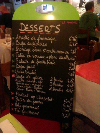 La Manne: Desserts menu
