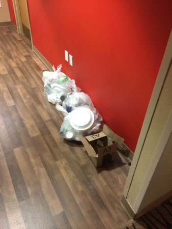 Extended Stay America - Orlando - Convention Center - Universal Blvd: Garbage on floor in hallway