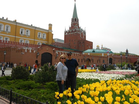 Russian Tour Guide, LLC- Day Tours: Hubby and me in front of the Kremlin