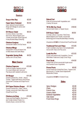 Metro Hotel Dublin Airport: Dinner menu