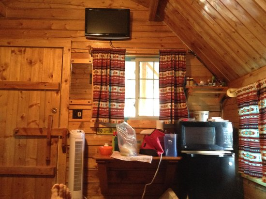 Flagstaff Grand Canyon KOA: View from bed in cabin (ignore my foot!)