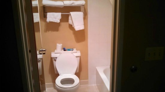 Best Western Alderwood: Tight quarters in the bathroom