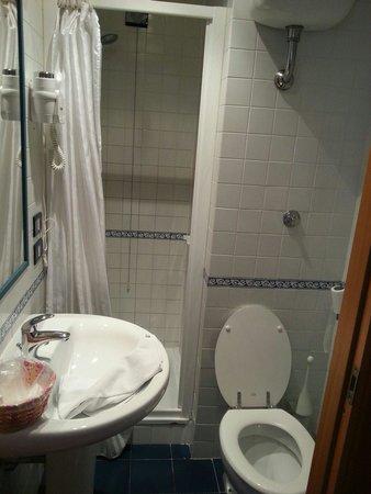 Hotel San Remo: Baño habitación individual tamaño ascensor