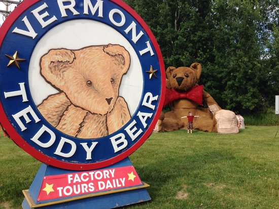 "Vermont Teddy Bear Company : ""Mommy- the teddy bear is THIS big!!"" At the entrance. Cuter from far away... Needs restuffed..."