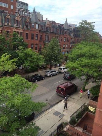Newbury Guest House: View of Newbury Street from our bay window.
