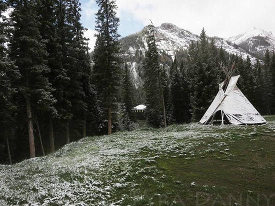 Cooke City High Country Motel: At the back of the property is a great view of the mountains and this little Teepee.