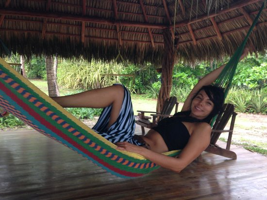Mariposa Vacation Homes: Here is a picture of my beautiful girlfriend enjoying the hammock on the yoga deck