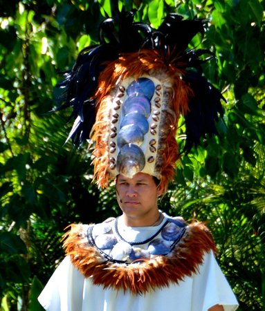 Polynesian Cultural Center : High priest wearing the traditional Tahitian headphone.