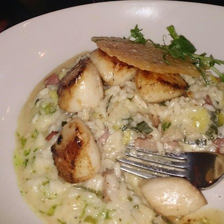 The Latin Quarter Bistro: @lqbistro succulent seared scallops starter on a bed of delicious bacon and leek risotto, parmes