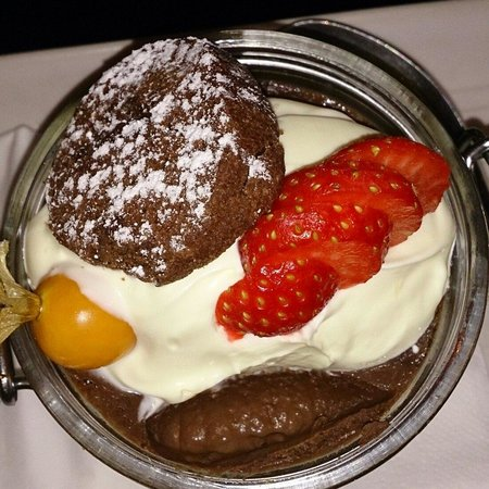 The Latin Quarter Bistro: @LQbistro chocolate pot with clotted cream and mini chocolate chip cookie. Melt in the mouth wit