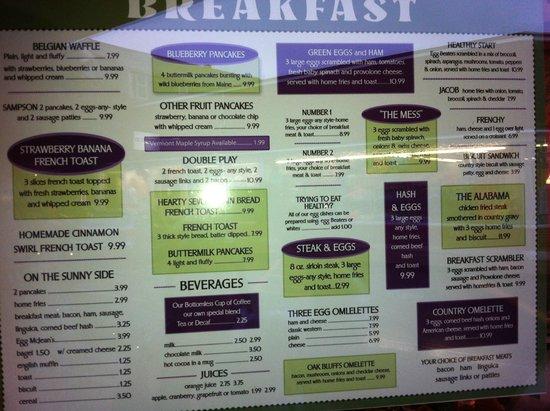 Linda Jean's Restaurant: Breakfast Menu - 2014
