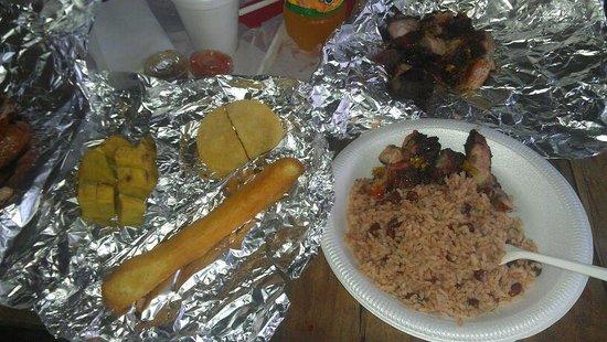 Scotchie's : Flavorless rice/beans, awful bammy & terrific festival w/ jerk pork on plate