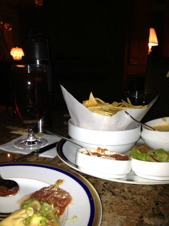 Grand America Hotel: Not a great pic, but the Queso and Chips from the Lobby Lounge