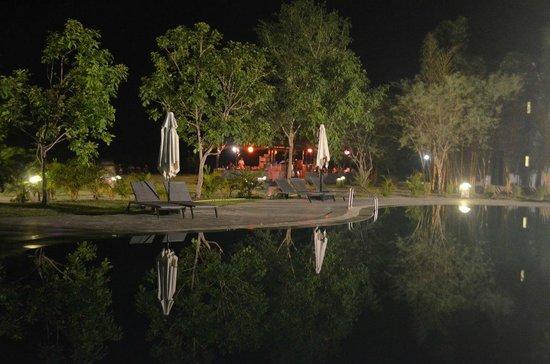 Club Mahindra - Corbett : Poolside at night