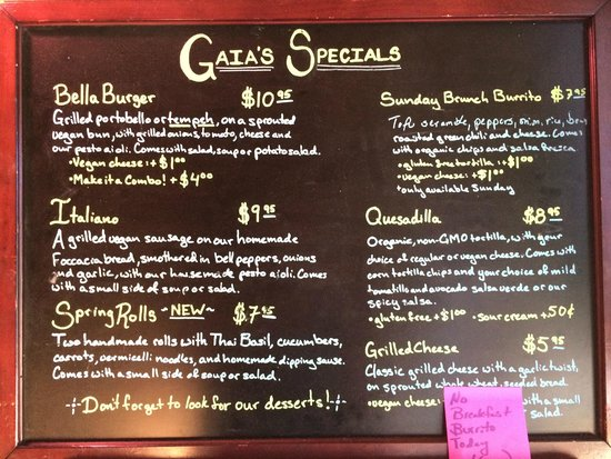 Gaia's Garden: Some of their other meal options