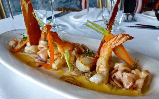 Esperance scallops, Shark Bay prawns, squid, cinnamon fennel compote.