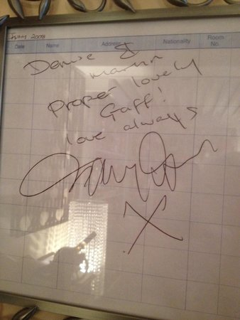 Blenheim Hotel: Danny dyers autograph when he was at the Blenheim filming