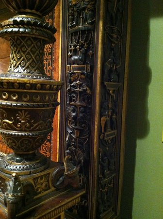 Said to be a wedding gift for the Ringlings, it is ornately carved columns of a day bed.
