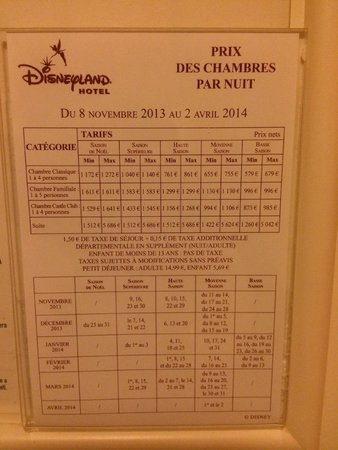 Tarif picture of disneyland hotel chessy tripadvisor for Chambre castle club disneyland hotel