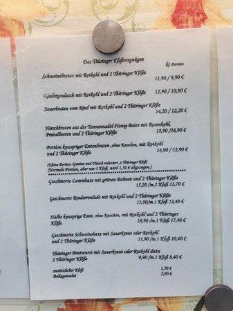 Scharfe Ecke Weimar: Auszug aus der Speisekarte