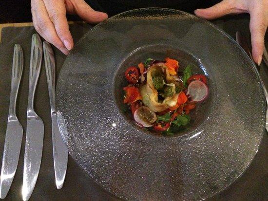 Corin on Mainstreet: Asparagus and potato rotolo with basil pesto & chilli coulis
