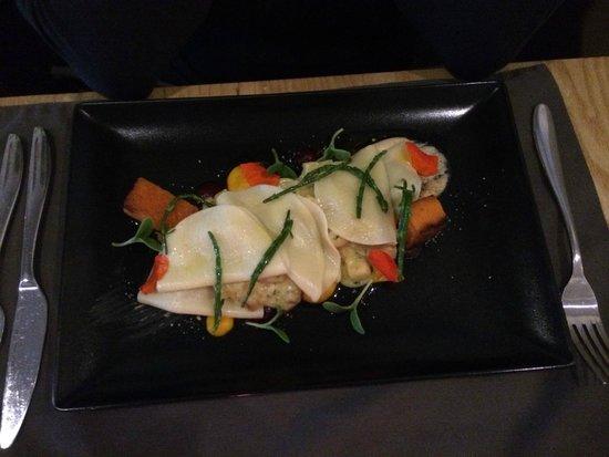 Corin on Mainstreet: Celeriac & hazelnut open ravioli with samphire in lemon butter