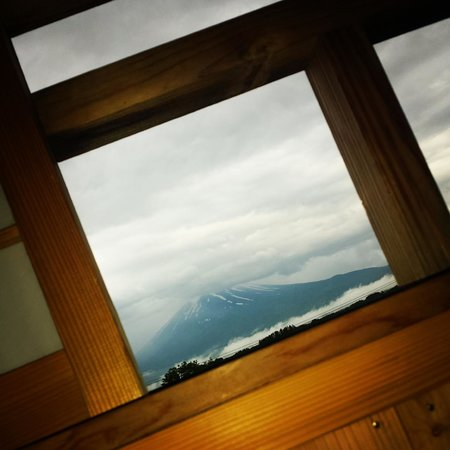Lake Land Hotel Mizunosato: View of Mount Fuji from private in room onsen