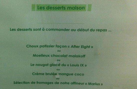 Au Louis IX : Desserts du moment