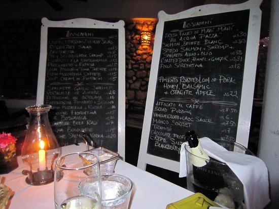Toscanini Restaurant : Chalkboard menus