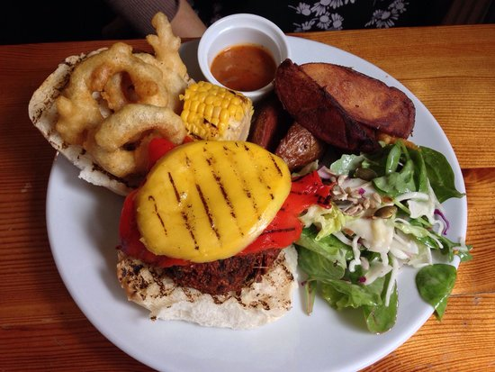 The Warehouse Cafe: My wife's Piri Piri burger which she said was awesome (that's not cheese by the way, it's grille