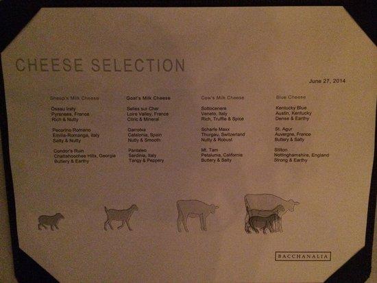 Bacchanalia: Cheese selection 28 June 2014