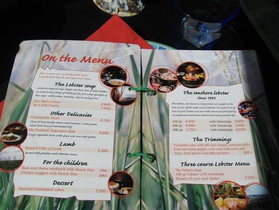Fjorubordid: Restaurant Menu