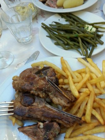 Le Bouillon Chartier : Lammkotelett und grüne Bohnen
